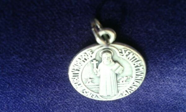 St Benedict #x27;The Devil Chasing Medal#x27; Catholic Saint Charm in silver alloy GBP 9.99
