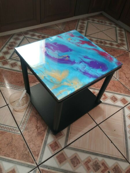 Epoxy side table made with metallic pigments. Brand new.