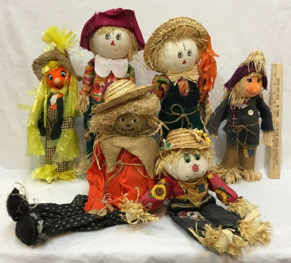 Scarecrow Decor Halloween Autumn Straw Fabric Burlap Standing Sitting Lot of 6