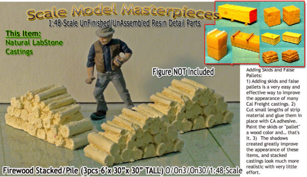 Scale Model MasterpiecesYorke Firewood Stacks-3 Large Piles On30