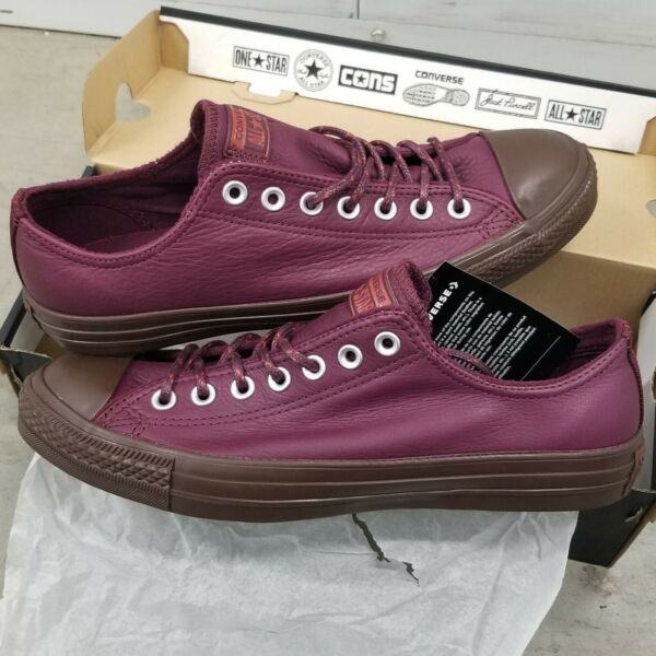 Converse Chuck Taylor All Star Dark Sangria Terra Red Leather Thermal Lined Ox