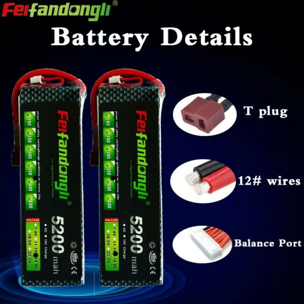 2pcs 14.8V 4S 5200mAh 40C LiPO Battery T plug for RC Airplane Drone Helicopte