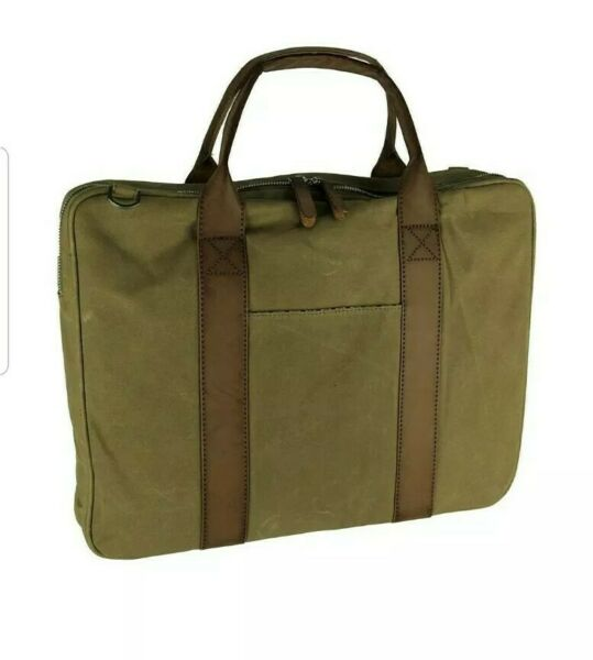 New TAN Dopp Oiled Canvas Slim Brief Briefcase Messenger Gear Bag ST90T872 $20.00
