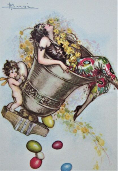 AS BUSI Sexy LADY in an EASTER Bell Colored Eggs Art Deco Postcard