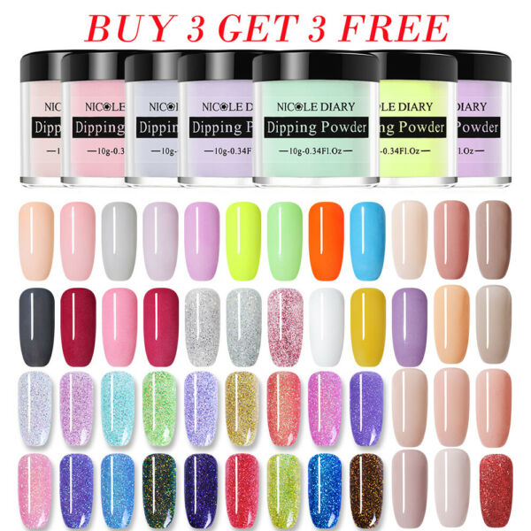NICOLE DIARY Nail Dip Dipping Powder Holo NO UV Polish Nail Art Starter Kits