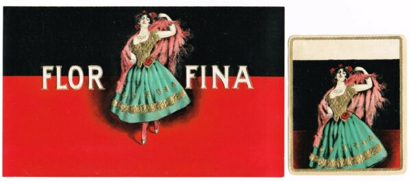 CIGAR BOX LABEL VINTAGE C1910 EMBOSSED FLOR FINA CUBANA FLAMENCO PAIR IN OUT