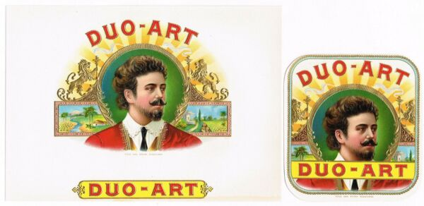 CIGAR BOX LABEL VINTAGE PAIR CHROMOLITHOGRAPHY 1910 DUO ART CUBAN GENUINE IN OUT