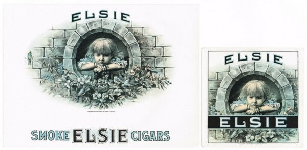 GENUINE CIGAR BOX LABEL VINTAGE PAIR CHROMOLITHOGRAPHY ELSIE C1910 URCHIN IN OUT