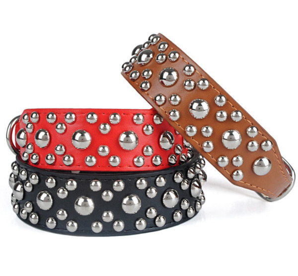 Studded Pet Dog Collar PU Leather Punk Pooch Dog Collar Adjustable Black Brown