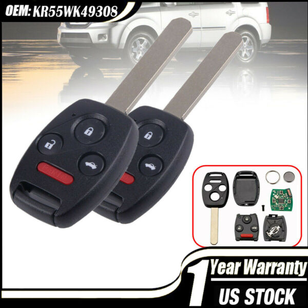 Keyless Entry Remote Control Uncut Car Ignition Key Fob Replaces for KR55WK49308