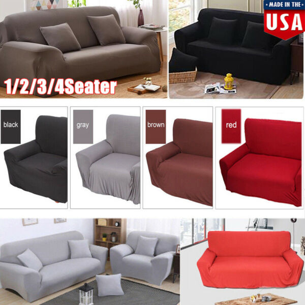 1 2 3 4 Seat Seater Sofa Slipcover Stretch Protector Soft Couch Furniture Covers $20.12