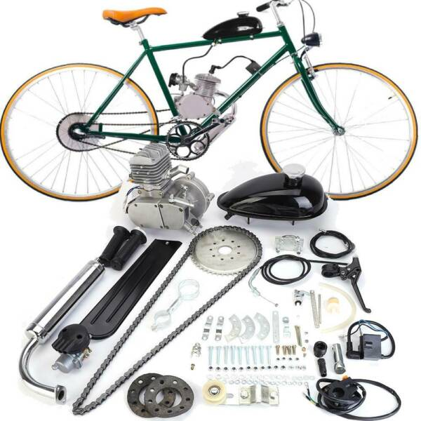 80cc 2 Stroke Gas Bike Engine Motor Kit DIY Motorized Bicycle Chrome Silver New