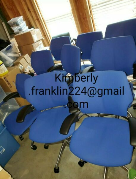 4 Blue Humanscale Freedom office task chair