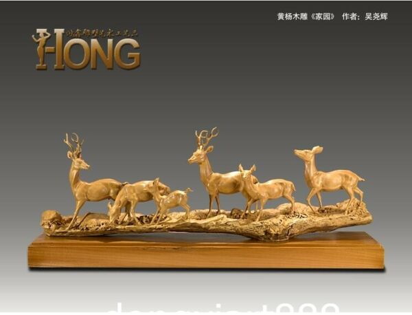 115 cm Chinese Handwork carving Boxwood sika deer fawn Animal Family home Statue