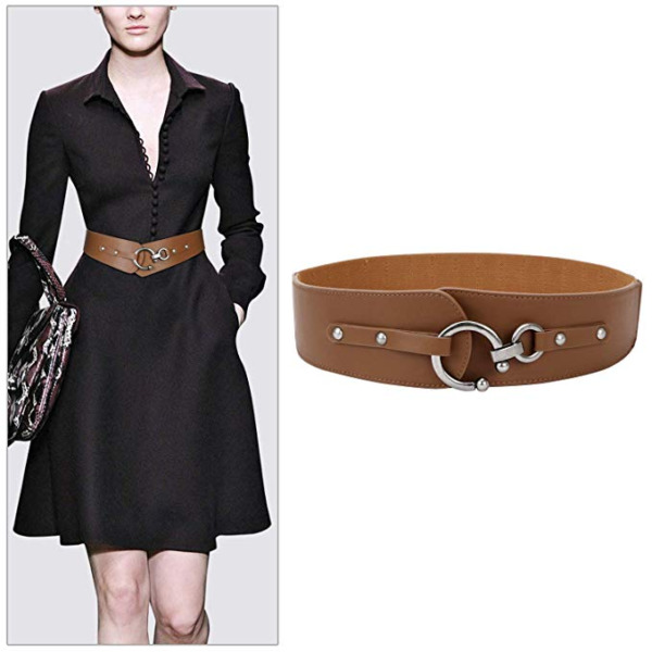 JASGOOD Women's Vintage Wide Belt Nice Soft Leather + Elastic Stretch Waist Belt