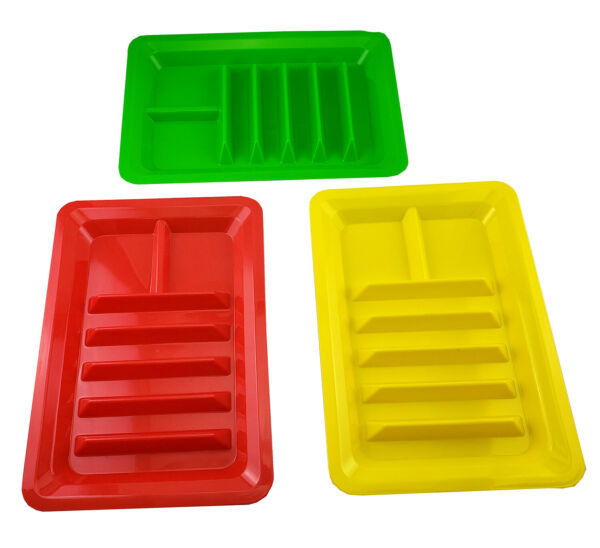 Set of Three Taco Holder Stand Up Divider Plates Multi Colored Plastic Plates $9.99