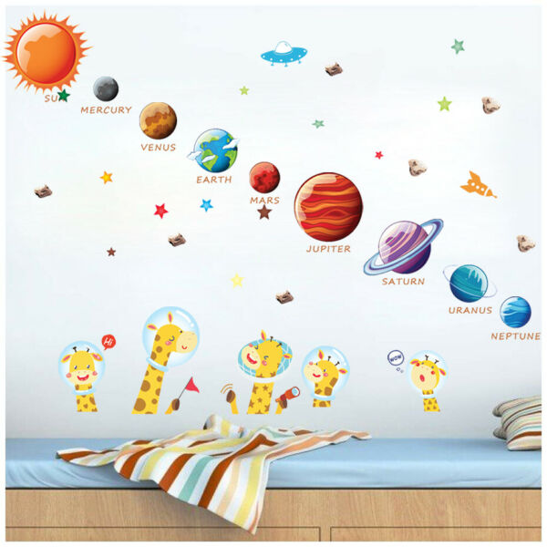 Space Solar System Outer Planets Wall Decal Kids Room Bedroom Sticker Art Decor