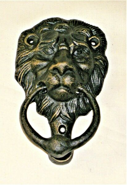 NEW~Cast Iron Lion Head Doorknocker with Heavy Ring  Rustic with Gold Accents