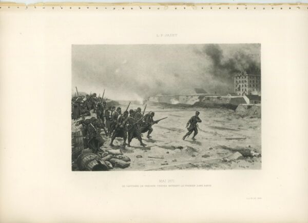 ANTIQUE WAR MONTH MAY 1971 SOLDIERS WAR RIFLES BURNING CITY PARIS FRANCE PRINT