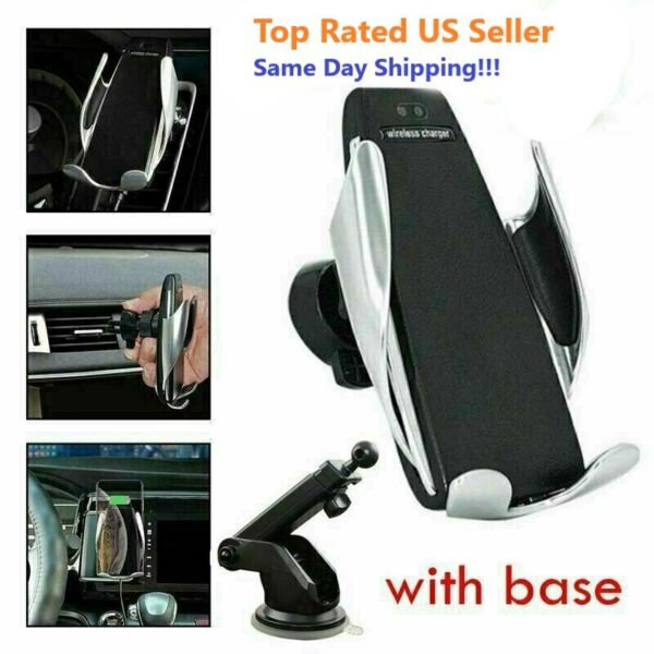 Automatic Clamping Wireless Fast Charge Car Charger Air Vent Mount Suction Base