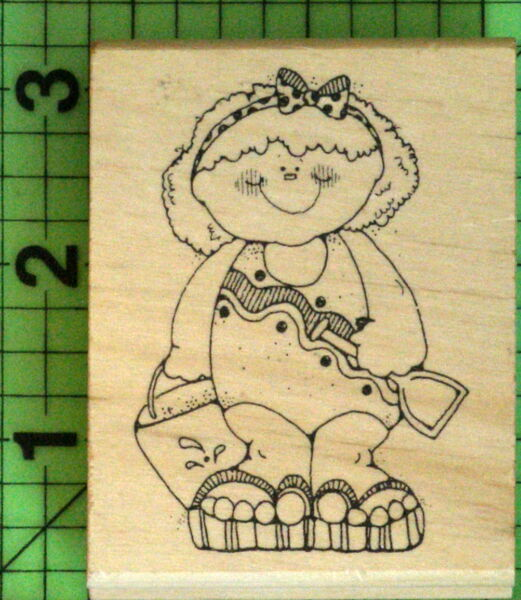 Kaylie Girl in Swim Suit Pail Shovel rubber stamp by Hook's Lines