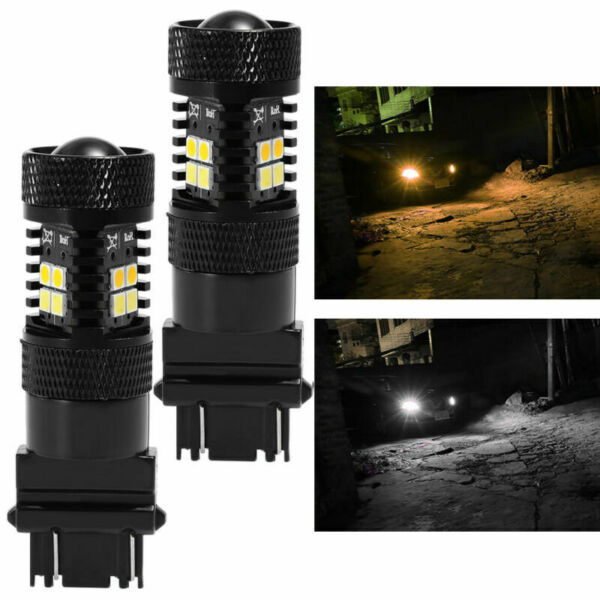 2 Pcs 3157 LED Switchback 3030 SMD Dual Color White Yellow Turn Signal Light