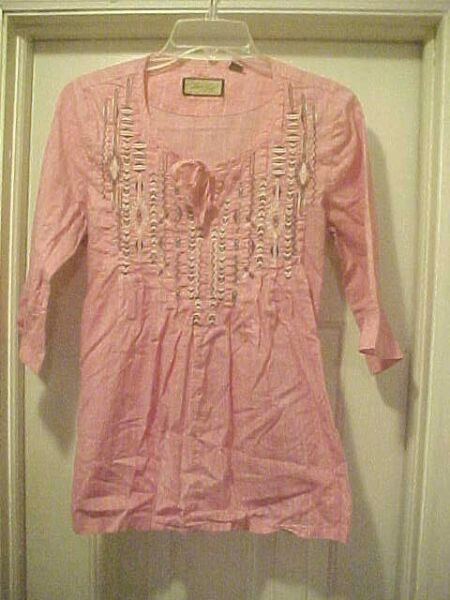 Women Size S Pink Pleasant Blouse By Legacy Falls 34 Sleeves Embroidered Design