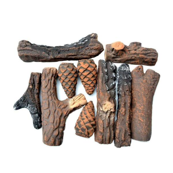 Ceramic Wood Fireplace Logs for Fireplaces & Fire Pits 10 Piece Set- Small Size