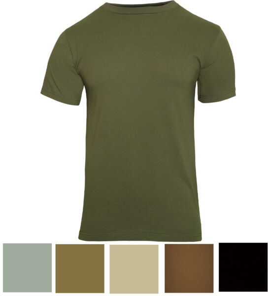 Solid Army Color Military T-Shirt Short Sleeve (PolyCotton or 100% Cotton)