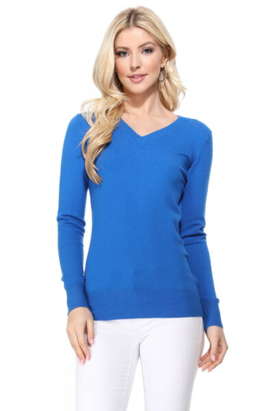 YEMAK Women#x27;s Long Sleeve V Neck Basic Soft Knit T Shirt Pullover Sweater MK5501