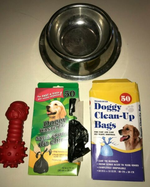 2 SILVER HEAVY PET BOWLS FOOD WATER POOP BAGS 2 BOXES RED TOY BONE MALE FEMA $4.21