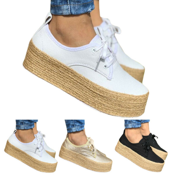 Women Platform Sneakers Canvas Lace Up High Wedge Comfort Trainer Shoes