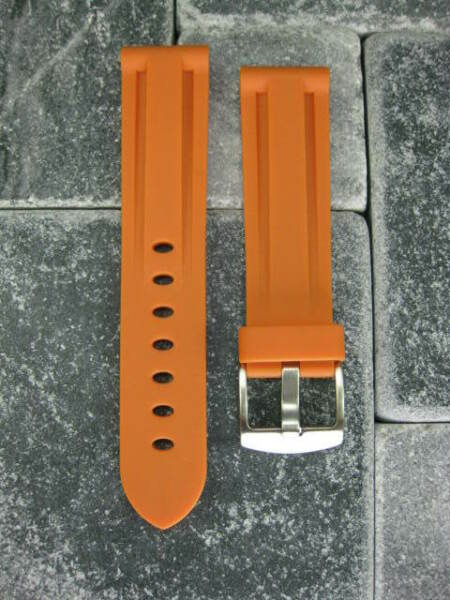 New 20mm Orange PU Rubber Strap Tang Diver Band 18mm Tongue Buckle OMEGA 20