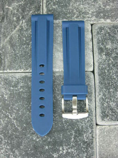 New 20mm Blue PU Rubber Strap Tang Diver Band 18mm Tongue Buckle OMEGA 20