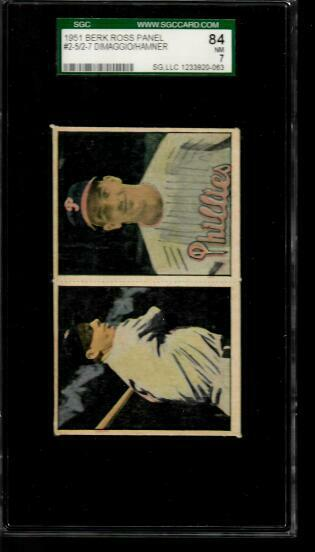1951 Berk Ross Panel Joe DiMaggio 2-5Granny Hamner 2-7 SGC 84 NM 7
