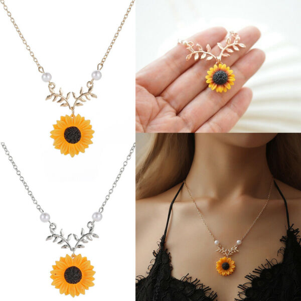Accessories Bohemian Sunflower Necklace Clavicle Chain Flower Twig Pendant