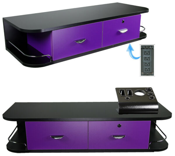 Purple Wall Mount Locking Styling Hair Station Appliance Holder Salon Equipment
