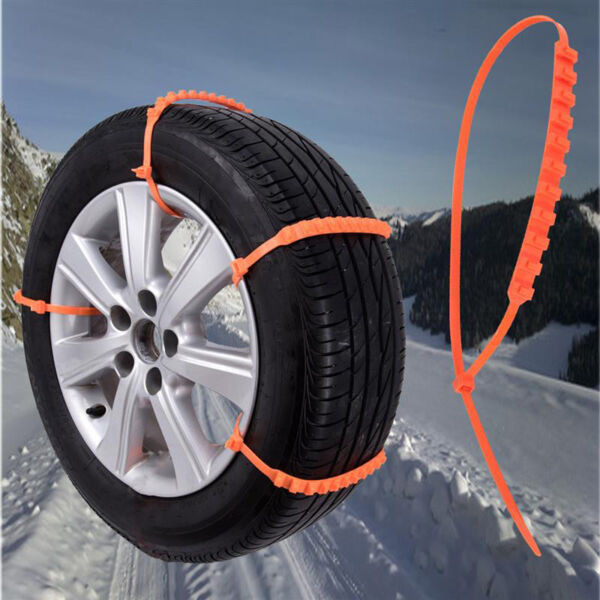 10Pcs Car Truck Snow Anti-Skid Wheels Tire Chains Anti-Slip Belt Orange US Tools