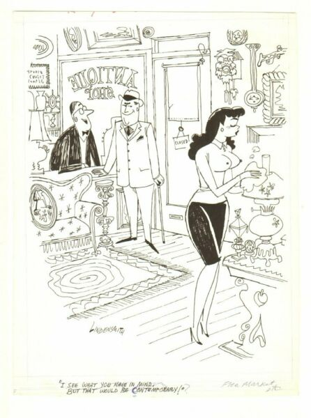 Sexy Babe in Antique Store Humorama Gag - 1966 art by James Lindensmith