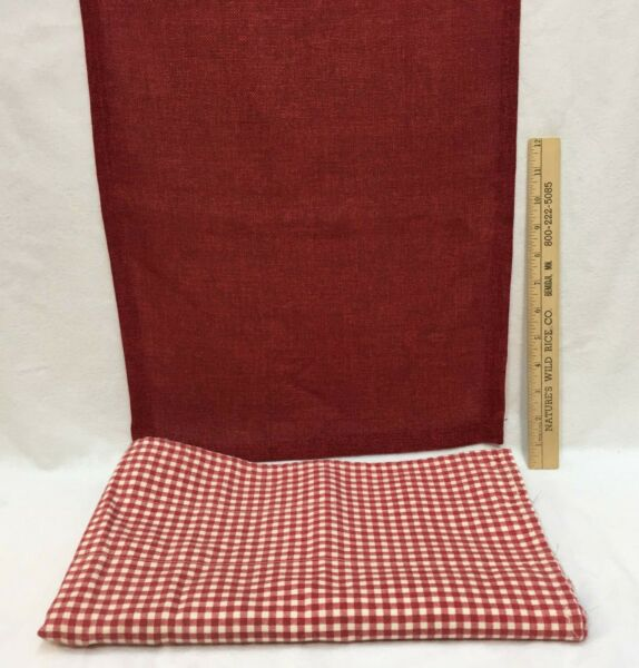 Red Table Runner Burlap Like Fabric 70quot; Long amp; Valance Red amp; White Checkered