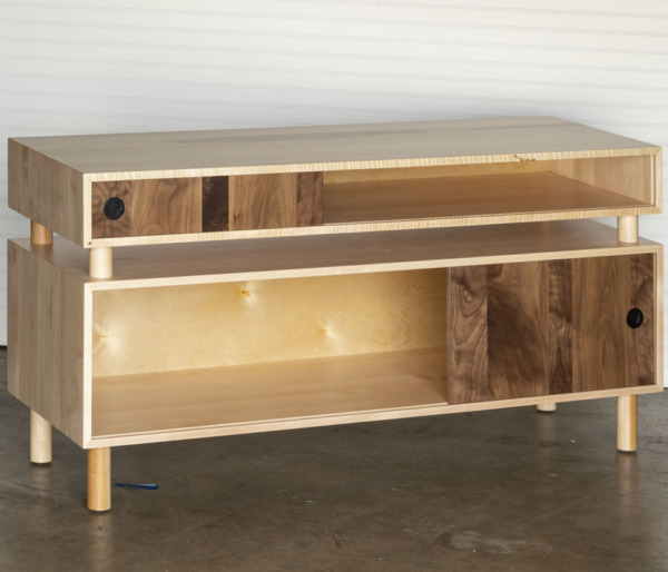 Amish-Made Solid Wormy Maple Entertainment Center with Sliding Walnut Doors