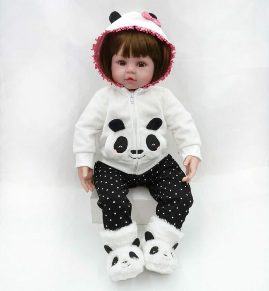 Real Life Reborn Baby Dolls Silicone Toddler Girl Vinyl Toys in Panda Outfit 18