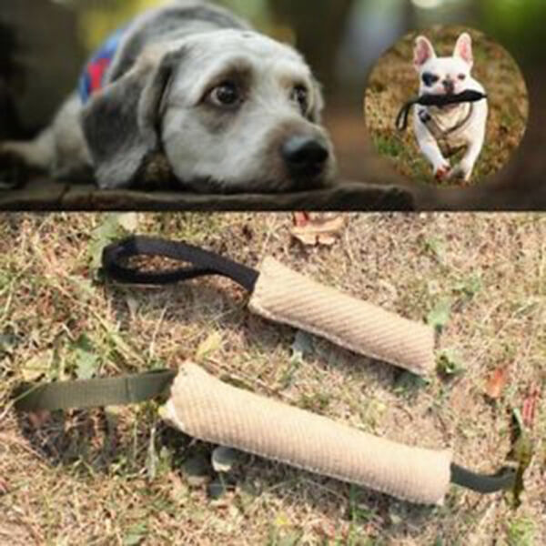 Handles Jute Police Young Dog Bite Tug Play Toy Pet Training Chewing Arm Slee  S