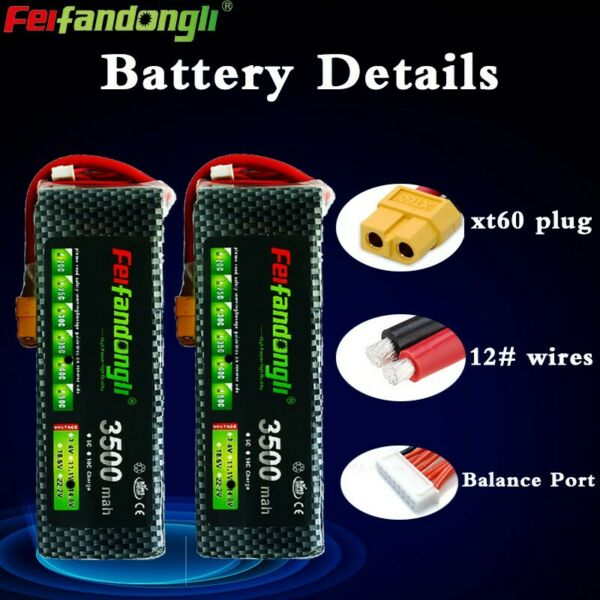 2pcs 14.8V 4S 3500mAh 40C LiPO Battery XT60 plug for Airplane Drone Helicopter