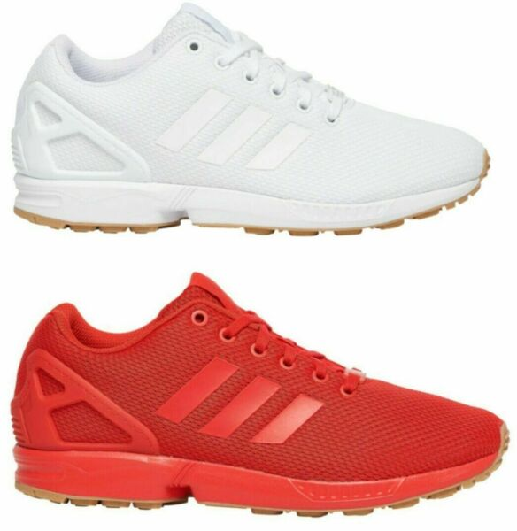 New adidas ZX Flux athletic sneakers Men's Casual Shoes white red black gum