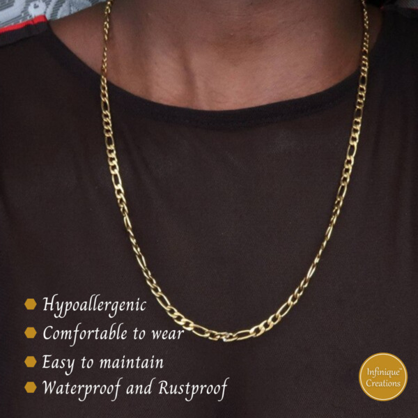 18K Gold Plated Stainless Steel Figaro Chain Bracelet Necklace 7 38quot; 3 12mm