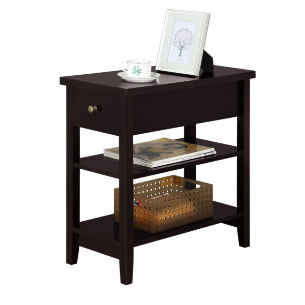 Nightstand Bedside Table Sofa Side End Table with Double Shelf 1 Drawer Espresso