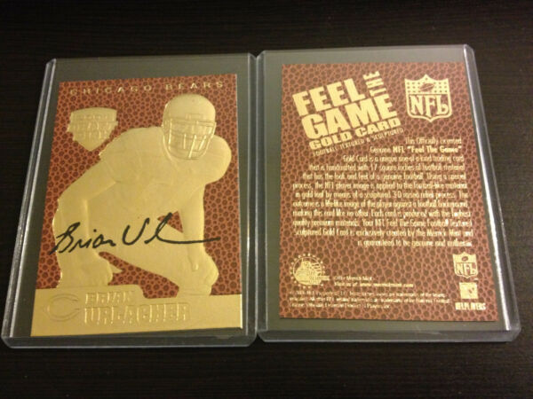 2001 BRIAN URLACHER Bears Feel The Game 23K GOLD ROOKIE Draft Pick Bears