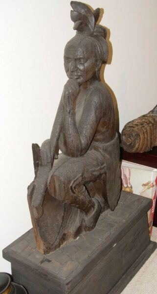 ANTIQUE CIRCA 1870 HAND CARVED CIGAR STORE INDIAN VERY RARE UNUSUAL SEATED FORM