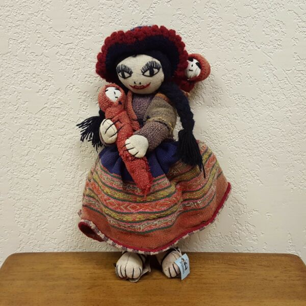 Vintage Handmade Burlap Cloth Doll Mexican Woman with Children Attached 14quot;